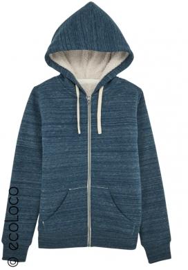 Bio Sweatshirt Kapuzenpulli mit Reißverschluss vegane Bekleidung sportwear für Frauen Blau
