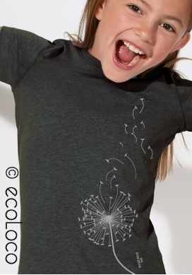 organic children tee shirt DANDELION fairwear craftman France vegan clothing ecowear