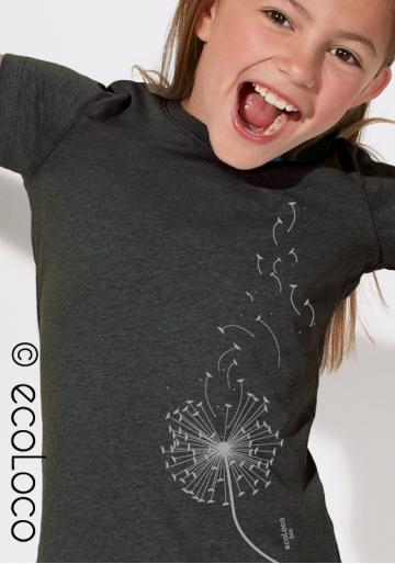 organic children tee shirt DANDELION fairwear craftman France vegan clothing ecowear