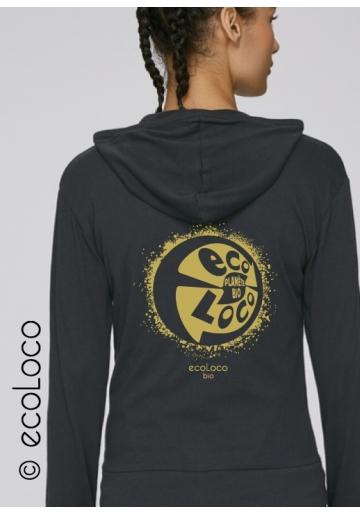 Bio-Sweatshirt ORGANISCHER PLANET Kapuzenpulli mit Reißverschluss ethische Mode fairwear gedruckt in Frankreich Handwerker