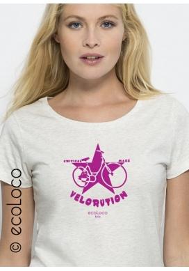 Bio-T-Shirt VELORUTION vegane Kleidung ethische Mode gedruckt in Frankreich Handwerker - Ecoloco