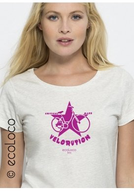 organic women tee shirt VELORUTION fairwear craftman France vegan ecowear - Ecoloco