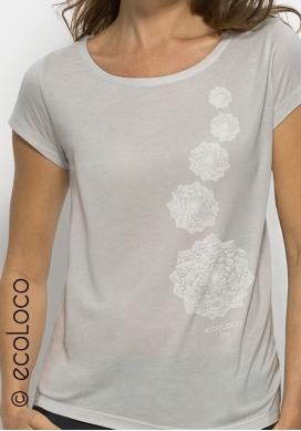 Bio-T-Shirt Modal KOHL vegane Kleidung nachhaltige Mode Frau gedruckt in Frankreich Handwerker - Ecoloco