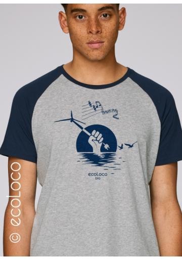 Bio-T-Shirt OFFSHORE-WINDKRAFTANLAGE gedruckt in Frankreich Handwerker militante vegane Kleidung fairwear