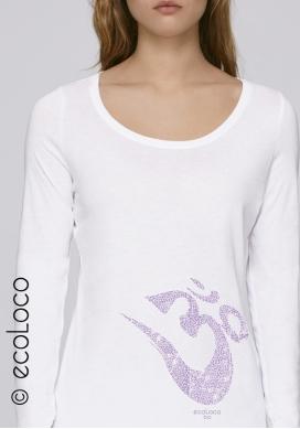langärmeliges Bio-T-Shirt OM YOGA MANTRA vegane Kleidung nachhaltige Mode Frau gedruckt in Frankreich Handwerker