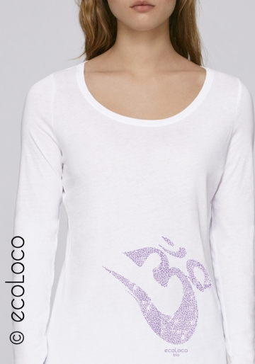 organic women tee shirt long sleeves OM YOGA MANTRA fairwear craftman France vegan ecowear meditation