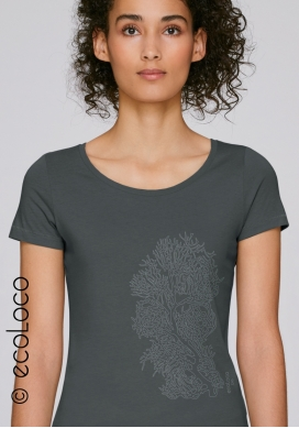 organic women tee shirt CORAL fairwear craftman France vegan clothing ecowear meditation ecofriendly - Ecoloco