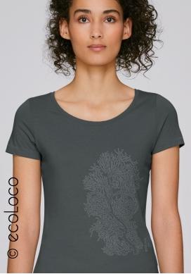 Bio-T-Shirt KORALLE vegane Kleidung ethische Mode Frau gedruckt in Frankreich Handwerker - Ecoloco