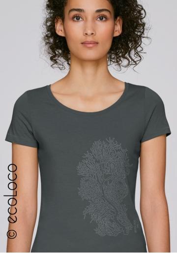 Bio-T-Shirt KORALLE vegane Kleidung ethische Mode Frau gedruckt in Frankreich Handwerker