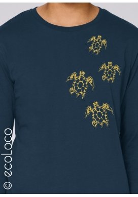T-shirt bio TATOO TORTUES MAORI imprimé en France artisan manches longues équitable vegan fairwear - Ecoloco