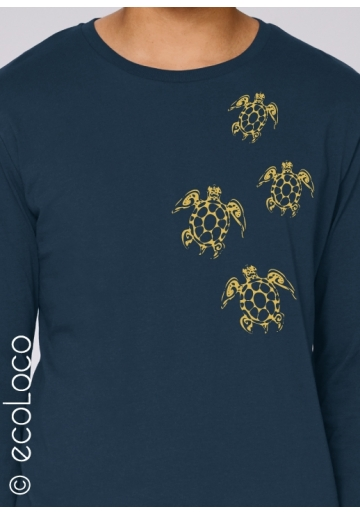 langärmliges Bio-T-Shirt TATTOO MOARI-SCHILDKRÖTEN vegane Kleidung gedruckt in Frankreich Handwerker herren