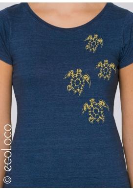 Bio-T-Shirt MAORI-SCHILDKRÖTEN vegane Bekleidung gedruckt in Frankreich Handwerker - Ecoloco