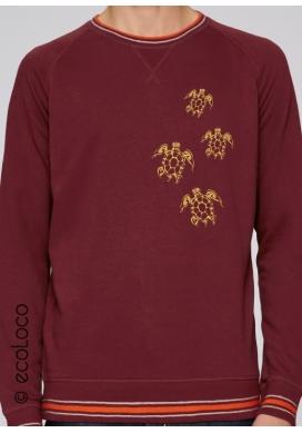 Sweatshirt bio TORTUES MAORI mode éthique équitable fairwear yoga imprimé en France artisan - Ecoloco