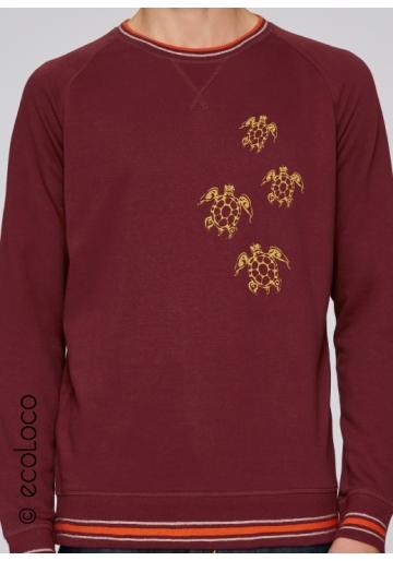 Sweatshirt bio TORTUES MAORI mode éthique équitable fairwear yoga imprimé en France artisan