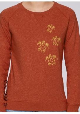 Sweat shirt bio TORTUES MAORI vetement yoga vegan pull imprimé en France - Ecoloco