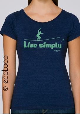 Bio-T-Shirt EINFACH LEBEN Slackline vegane Bekleidung fairwear Frau gedruckt in Frankreich handwerker