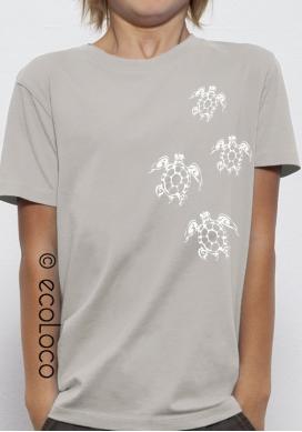 T-shirt bio TORTUES MAORI imprimé en France artisan mode éthique équitable vegan fairwear enfant gris - Ecoloco