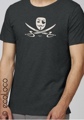t shirt bio PIRATE militant équitable vêtement vegan fairwear imprimé en France artisan - Ecoloco
