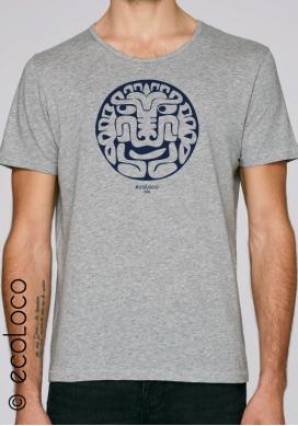 Sommer Bio-T-Shirt AMERINDIANISCHER KATZEN vegane Kleidung gedruckt in Frankreich Handwerker - Ecoloco