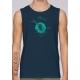 Sommer ärmelloses Bio-T-Shirt OFFSHORE-WINDKRAFTANLAGE gedruckt in Frankreich Handwerker militante vegane Kleidung fairwear