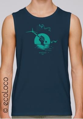 Sommer ärmelloses Bio-T-Shirt OFFSHORE-WINDKRAFTANLAGE gedruckt in Frankreich Handwerker militante vegane Kleidung fairwear - Ecoloco