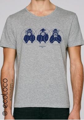 T-shirt bio d'été TROIS SINGES DE SAGESSE vêtement vegan équitable imprimé en France artisan