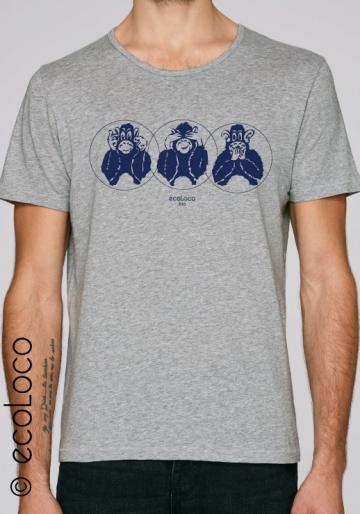 Sommer Bio-T-Shirt DREI WEISHEITSAFFEN gedruckt in Frankreich Handwerker vegane Kleidung fairwear nachhaltige Mode