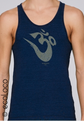 summer organic tank top OM YOGA MANTRA fairwear craftman France vegan ecowear meditation relaxation