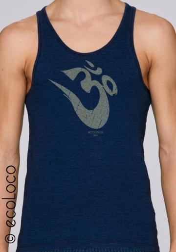 Sommer ärmelloses Bio-T-Shirt OM YOGA MANTRA vegane Kleidung fairwear gedruckt in Frankreich Handwerker