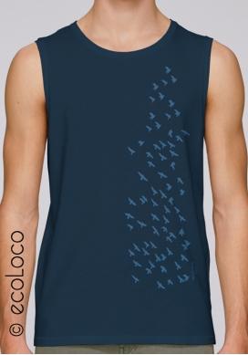 Sommer ärmelloses Bio-T-Shirt DAS AUFFLIEGEN Vogel vegane Bekleidung gedruckt in Frankreich Handwerker