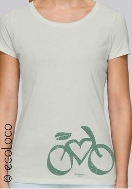 summer organic women tee shirt LOVE VELO fairwear craftman France vegan ecowear