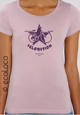 summer organic women tee shirt VELORUTION fairwear craftman France vegan ecowear - Ecoloco