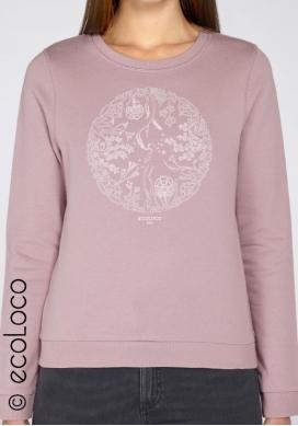 Sweatshirt bio LA ROUE DE LA VIE mode éthique équitable fairwear imprimé en France artisan - Ecoloco