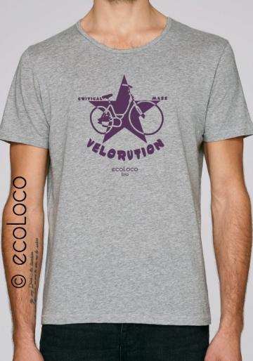 T-shirt bio VELORUTION imprimé en France artisan pour transport écologique velo vêtement fairwear
