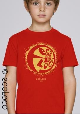 Bio-T-Shirt ORGANISCHER PLANET vegane Kinderbekleidung nachhaltige Mode fairwear gedruckt in Frankreich Handwerker - Ecoloco