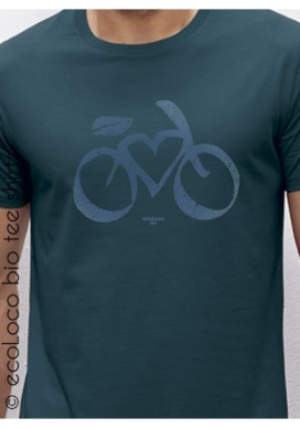 T-shirt bio cycle LOVE VELO imprimé en France artisan vêtement équitable vegan fairwear