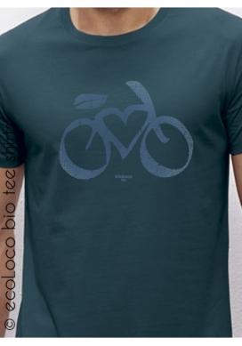 Bio-T-Shirt LOVE VELO vegane Kleidung fairwear gedruckt in Frankreich Handwerker - Ecoloco