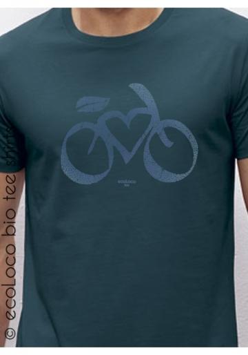 T-shirt bio cycle LOVE VELO imprimé en France artisan vêtement équitable vegan fairwear