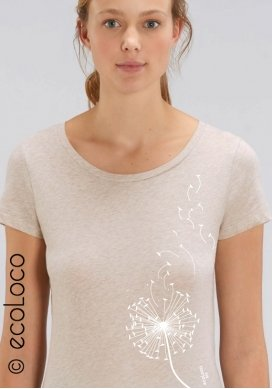 T shirt bio PISSENLIT imprimé en France artisan mode éthique fairwear vegan - Ecoloco