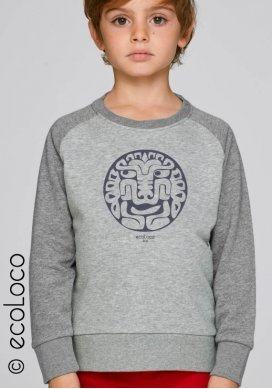 Sweat shirt bio enfant FELIN AMERINDIEN imprimé en France artisan vegan fairwear - Ecoloco