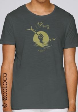 Tee shirt bio d'été EOLIENNE DES MERS militant vêtement vegan équitable imprimé en France artisan - Ecoloco