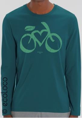 T-shirt manches longues bio cycle LOVE VELO imprimé en France artisan vêtement équitable vegan fairwear - Ecoloco