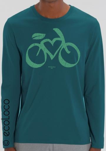 langärmliges Bio-T-Shirt LOVE VELO vegane Kleidung fairwear gedruckt in Frankreich Handwerker