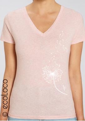Bio-T-Shirt LÖWENZAHN vegane Kleidung Frau fairwear gedruckt in Frankreich Handwerker - Ecoloco