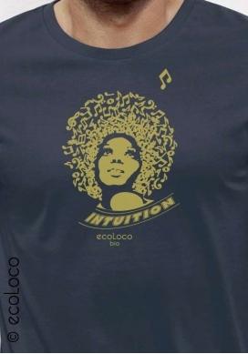 Bio-T-Shirt INTUITION Music vegane Bekleidung gedruckt in Frankreich Handwerker - Ecoloco