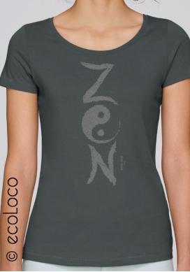 Bio-T-Shirt ZEN Modal ethische Mode Frau gedruckt in Frankreich Handwerker - Ecoloco