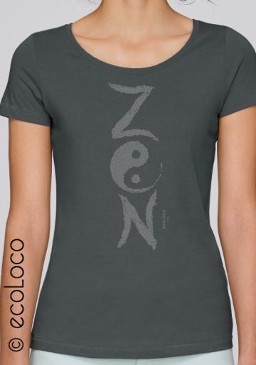 Bio-T-Shirt ZEN Modal ethische Mode Frau gedruckt in Frankreich Handwerker