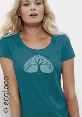 organic women tee shirt BREATHING TREE fairwear craftman France vegan ecowear - Ecoloco