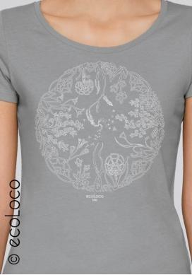 Bio-T-Shirt RAD DES LEBENS vegane Kleidung ethische Mode gedruckt in Frankreich Handwerker - Ecoloco