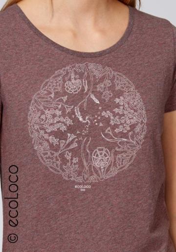organic tee shirt WHEEL OF LIFE fairwear craftman France vegan clothing ecowear